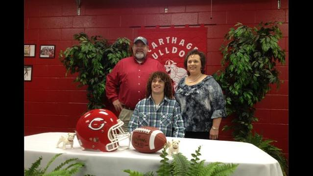 Carthage Receiver Tasker Shannon signs with Henderson St.