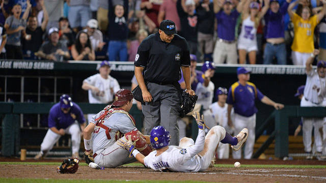 'Beach Ball Rally' gives LSU CWS opening win, 5-4
