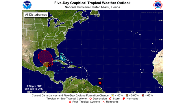 NHC monitoring two areas of low pressure in the Gulf of Mexico and Atlantic Ocean