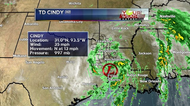 Tropical Storm Cindy downgraded to tropical depression after landfall