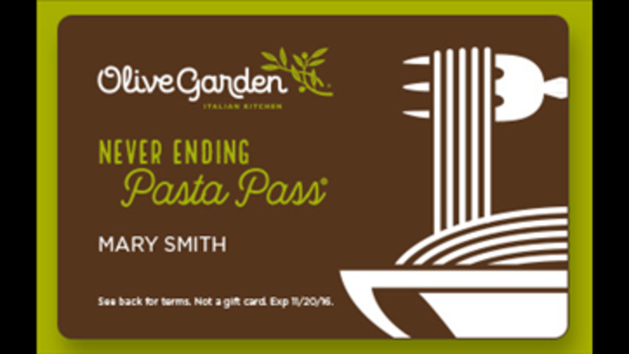 Olive Garden\'s \'Unlimited Pasta Pass\' lets you gorge for $100