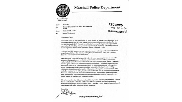 Marshall's Police Chief submits letter of resignation