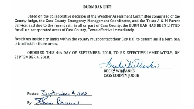 burn ban issued for county in east texas